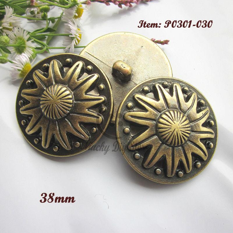 12pcs 60L Bronze sun pattern big decorative buttons 38mm plastic coat buttons for craft diy sewing accessories