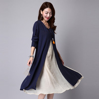 2016 Fashion Renaissance Linen Long Red Dress Spring New Women's Embroidery Long Sleeve Loose Navy Blue Dresses