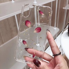 Cute Real Dry Flower Case for iPhone 8 Soft X XS XR Max 6 6s 7 plus Gold Foil Glitter Cover Epoxy Capa