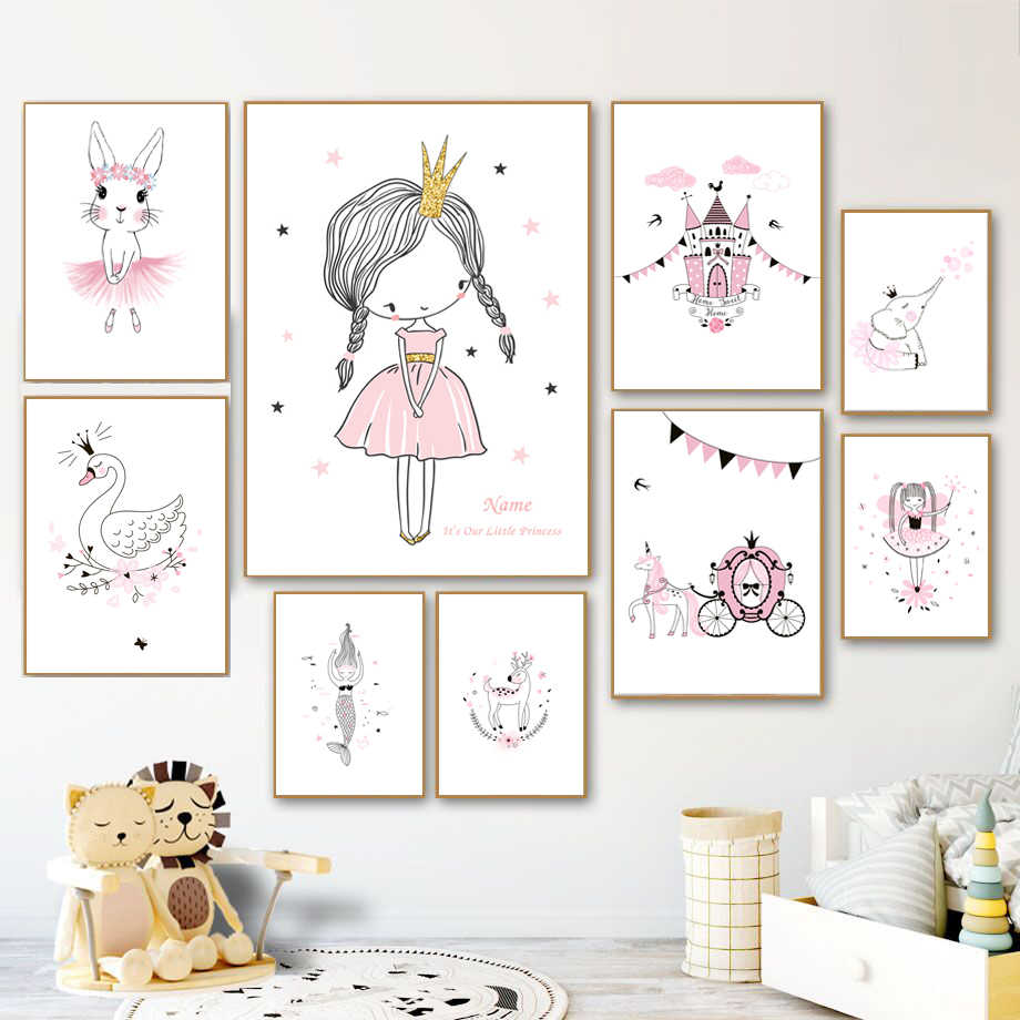 Little Princess Swan Nordic Posters And Prints Wall Art Canvas Painting Scandinavian Wall Pictures Baby Girl Room Bedroom Decor