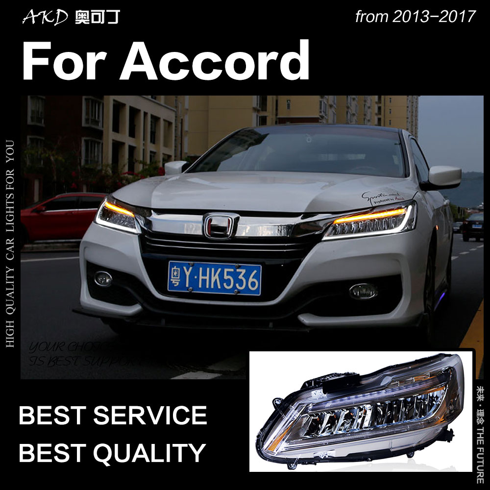 AKD Car Styling Head Lamp for Accord Headlights 2013 2017 New Accord LED Headlight DRL All