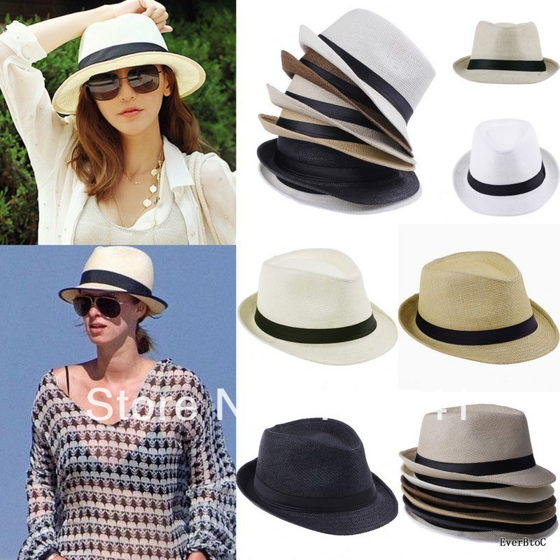 bccc45cd274 1 PCS Fashion Women Men Unisex Fedora Trilby Gangster Cap Summer Beach Sun  Straw Panama Hat Sunhat-in Sun Hats from Apparel Accessories on  Aliexpress.com ...