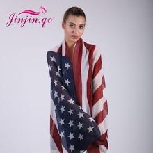 Jinjin.QC American Flag print scarf Norway flag scarves and wraps autumn pashmina skull printed bandana lady jersey hijab