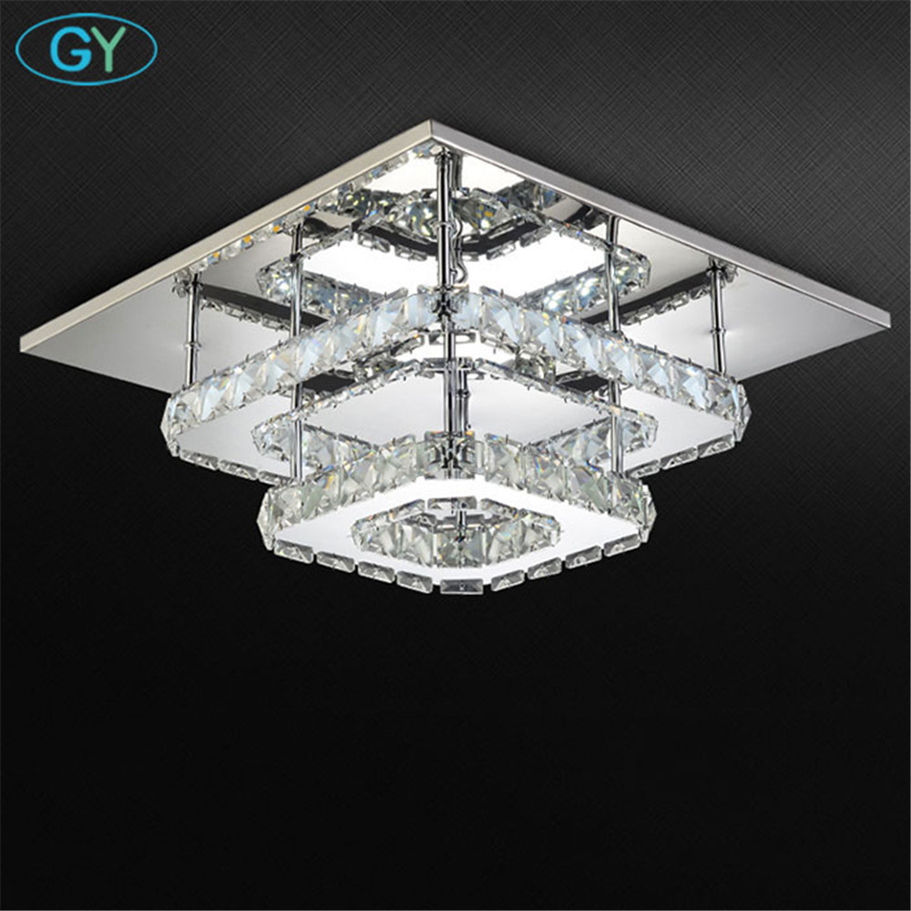 AC100-240V Modern crystal lamp LED ceiling light stainless steel dining room bedroom living room lamps art deco home lighting free shipping high quality modern crystal ceiling lamp golden crystal ceiling lighting sy4062 4l d500mm ac 100