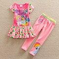 Ordenada primavera otoño estilo de mi pequeño pony patrón de algodón de la raya pantalones de vestir de manga corta bebé conjunto traje ropa de los cabritos TQ9115