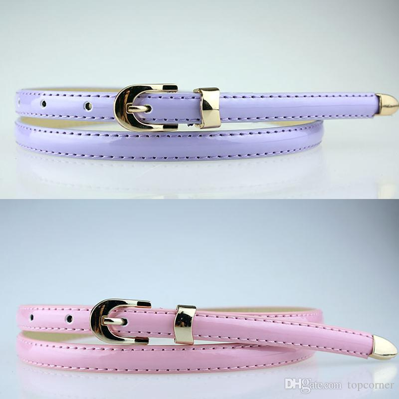 20pcs/lot Fashion Thin Leather Waistbands With Alloy Buckle Adjustable Belts Women