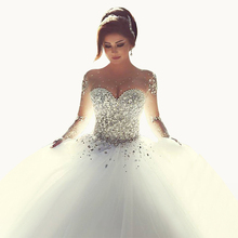 New Arrival Beaded Organza Scoop Ball Gown Sweep Train Crystal Cheap Wedding Dresses Dress 2015