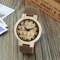Marca de luxo Homens Aismei Bambu Madeira Relógios Homens e Mulheres Relógio de Quartzo Moda Pulseira de Couro Ocasional Relógio de Pulso Masculino Relogio