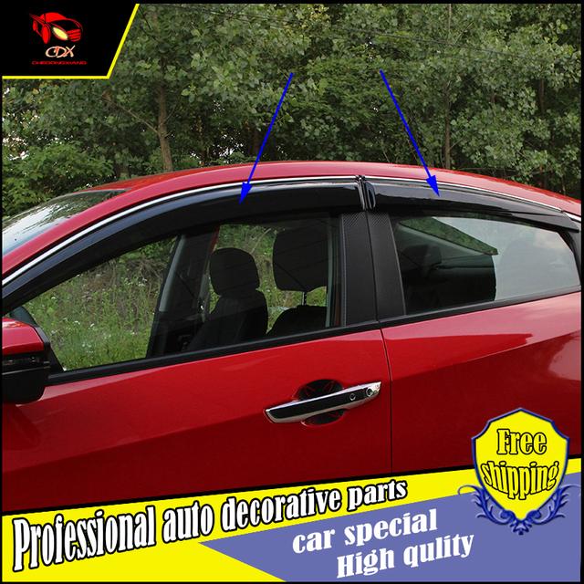 4 unids/set car styling ventanas de protección protección contra la lluvia cubierta para honda civic 2016 10th acrílico ventana lluvia visera visera del coche decorar