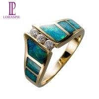 Lohaspie природных алмазов и Opal SOLID 14 К желтое золото обручальное Кольца Винтаж Ювелирные украшения для Для женщин подарок