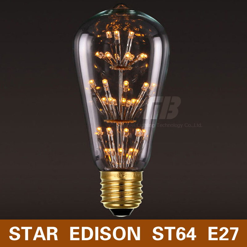 [MingBen] Antique Style Edison Star ST64 LED Bulb E27 220V 3W Warm White Light Retro Style Fit For Rope Lights Chandelier Lamp hemp rope chandelier antique classic adjustable diy ceiling spider lamp light retro edison bulb pedant lamp for home
