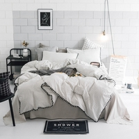 Pompom Plaid Duvet Cover Set 100% Cotton Duvet Cover Set Twin Queen King Size Bedding Set For Adults Brief Solid Color Bed Sheet