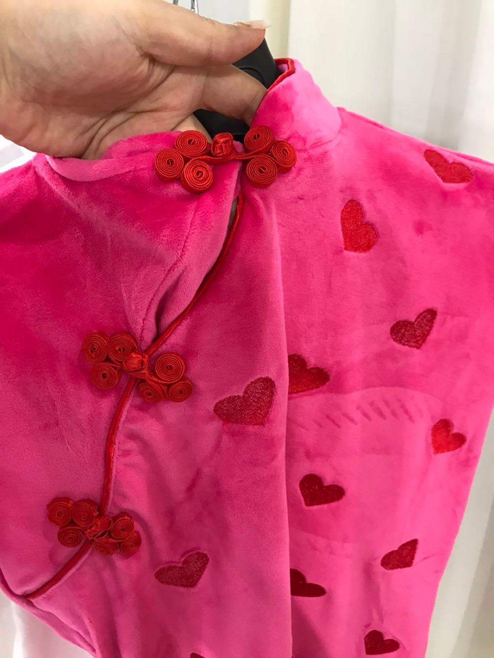 À Chinois Rétro Rose Courtes Robe As Coeurs 2018 Femme Cheongsam Vintage Photo Kawaii Velours Manches Ete Femmes HPSRPY