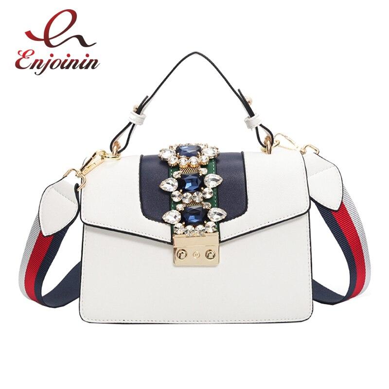 Luxury gemstone canvas shoulder strap fashion ladies totes shoulder bag pu leather handbag crossbody messenger bag 5 colors