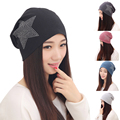 New Autumn Fashion New Knit Baggy Beanie Hat with Star Female Warm Winter Hats for Girls Women Beanies Bonnet Head Cap DM#6