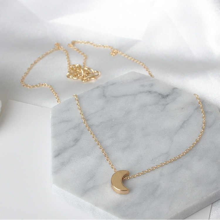 Coração pequeno lua estrela gargantilha colar para mulher ouro/cor prata corrente curta amor pingente colar boêmio jóias presente