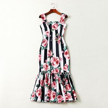 866227b8c De alta calidad nuevo diseñador de moda 2019 pista vestido de las mujeres  de la correa de espagueti de rayas Rosa impreso vestido de sirena