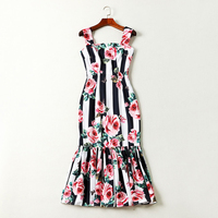 HIGH QUALITY Newest Fashion Designer 2019 Runway Dress Women's Spaghetti Strap Striped Rose Printed Mermaid Dress