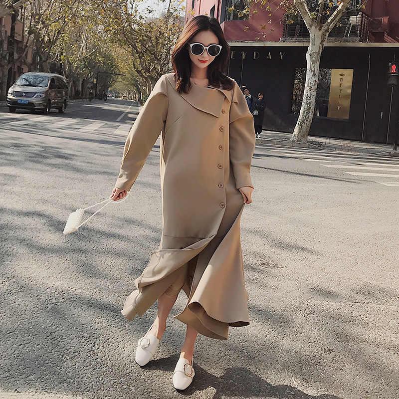 LANMREM 2019 Корея новая весенняя модная женская одежда однобортное платье с асимметричными оборками платье с подолом женское платье Vestido ZA5080