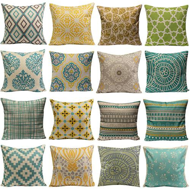 New Design Pillows Hot Sale Vintage Geometric Flower Cotton Linen Throw Pillow Case Cushion Cover Home