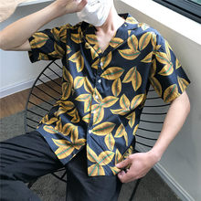 Dark Icon Leaves Full Printed Retro Shirt Men Short Sleeve 2019 Summer New Street Men's Shirts Male Top 2Colors(China)
