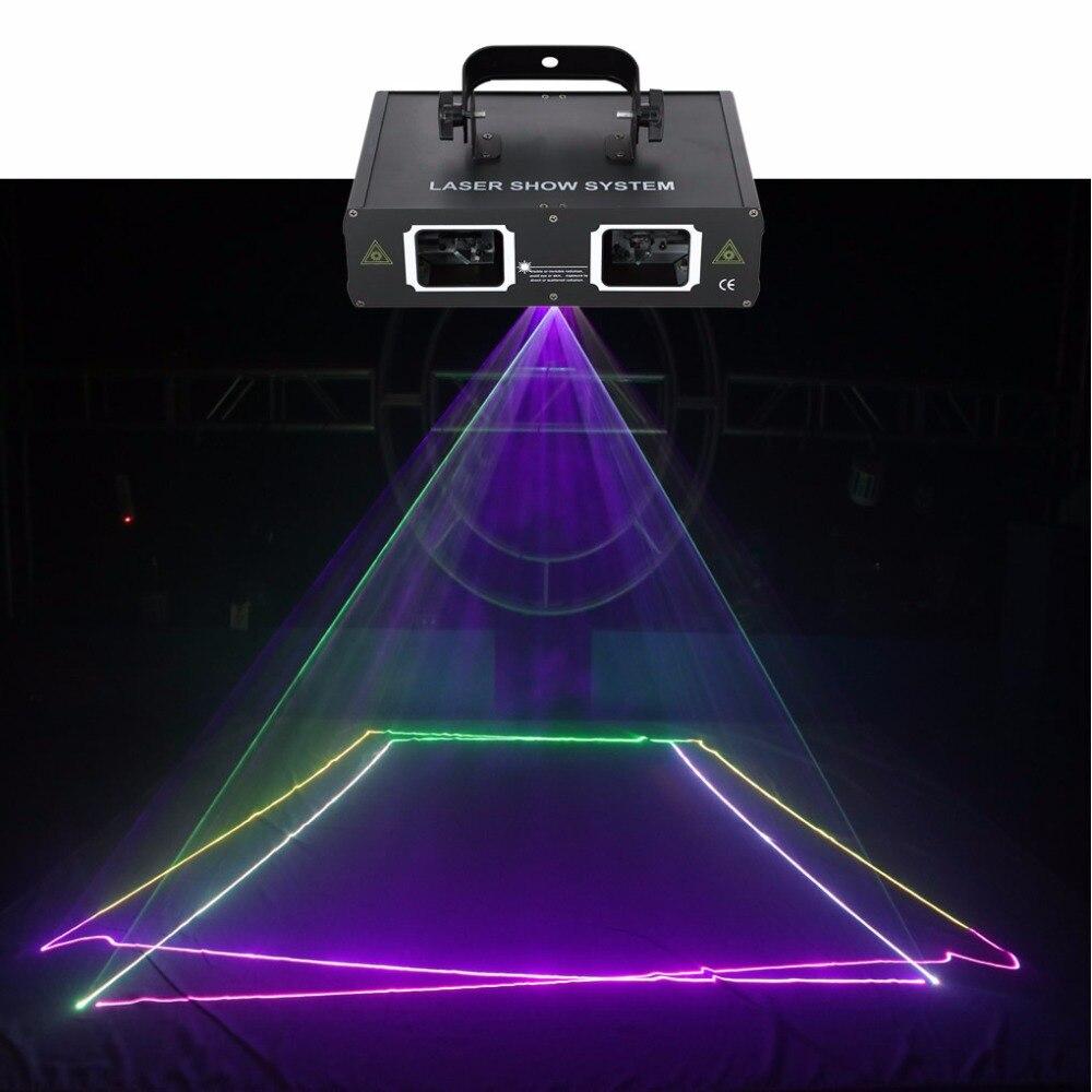 AUCD 2 Lens Red Green Blue RGB Beam Laser Light DMX 512 Professional DJ Party Show Club Holiday Home Bar Stage Lighting 506RGB