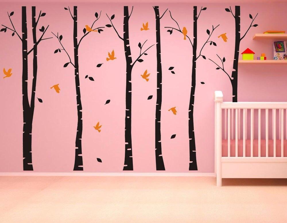 SIA 2017 nouveau grand vinyle noir café brun blanc 4 couleurs bouleau arbre stickers oiseaux vinyle Sticker mural décor à la maison - 6