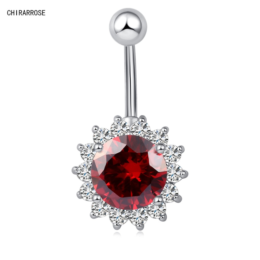 New Fashion Woman 39 s Flower Belly Button Rings Bar Surgical Piercing Sexy Body Jewelry for Women Navel Piercing P0069 in Body Jewelry from Jewelry amp Accessories