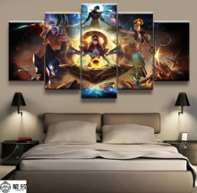 Hot Sales Without Frame 5 Panels Picture LOL League of Legends Game Print Artwork Wall Canvas Art Canvas Painting Wholesale(China)