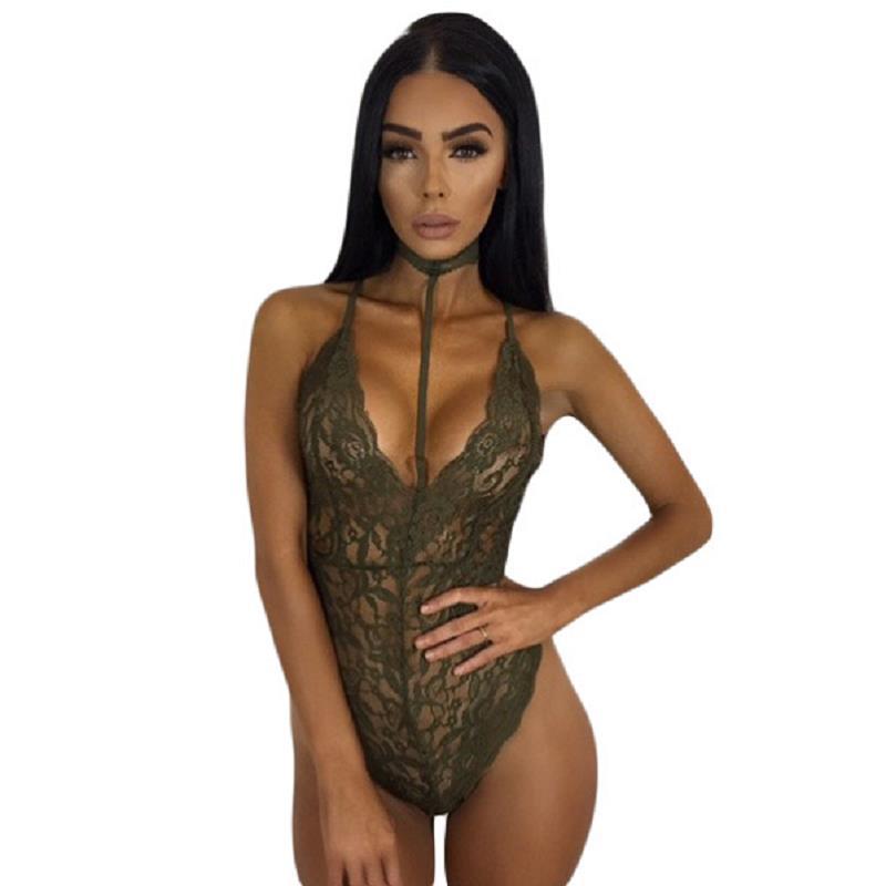 f9e8b112dd SEBOWEL Hot Sexy Lace Bodysuit Women Choker Neck See Through Skinny Body  Jumpsuit Ladies Romper Combinaison Shorts Playsuits | digmydealsclub !