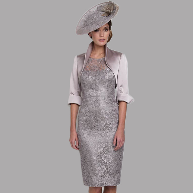 26fd81164e Gorgeous Vestido de noiva plus size Grey Silver Mother of The Bride Short  Dresses with Jacket Sheer Cap Sleeve Evening Dress