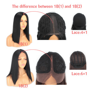 Image 4 - Leeven Hair 14'' Synthetic Lace Front Wig Short Straight Bob Wigs For Woman Black Brown Classic Middel Part Lace Frontal Wig
