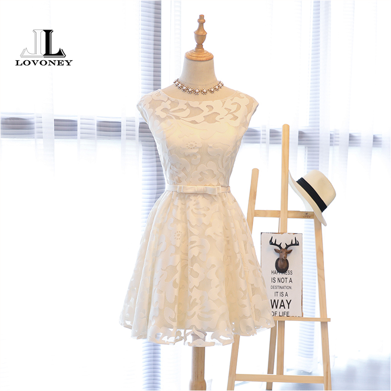 LOVONEY A Line Lace Short Cocktail Dresses 2019 Sexy Formal Party Dresses Knee Length Prom Gown Women Occasion Dresses XYG704
