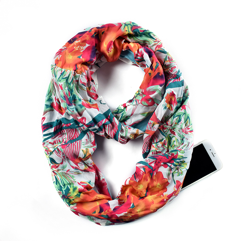 Womens Floral Pattern Infinity   Scarf     Wrap     Scarf   with White Zipper Pocket, Infinity   Scarves  , Travel   Scarf   AA10306