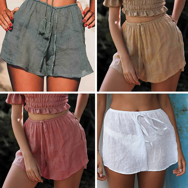 Casual Beach Rayon Thin   Short   Women 2019 Summer drawstring   Shorts   for 4 Colors