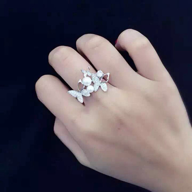Butterfly Knuckle Ring 925 Sterling Silver Pearl Finger Ring Full AAA Zircon Butterfly Ring for Women To Weddings Knuckle Ring