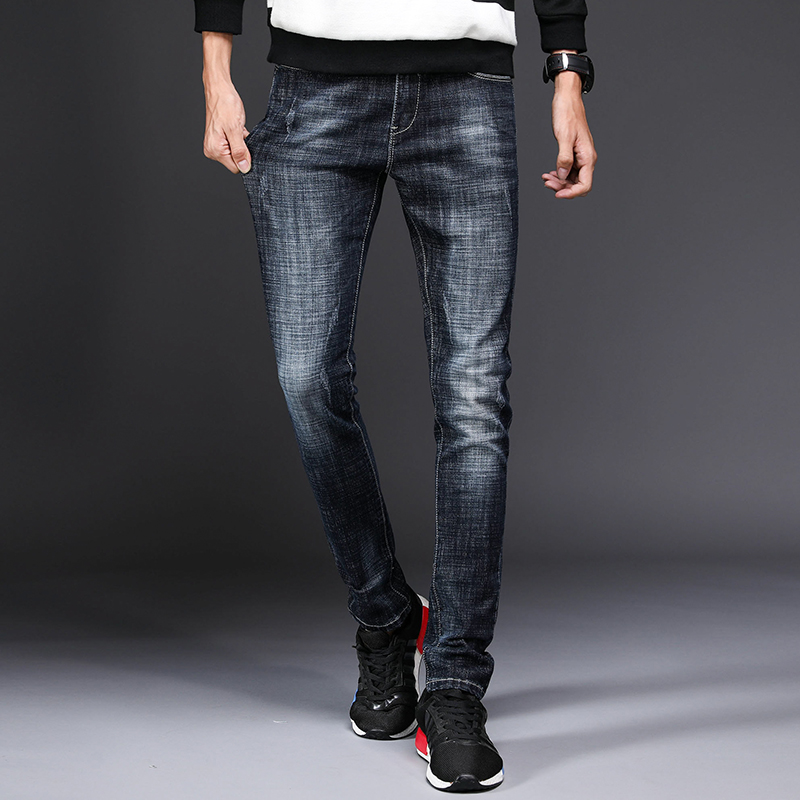 Stretch jeans mens jeans new fashion sewing corduroy casual mens jeans brand black washed jeans slim trousers mens feet stret