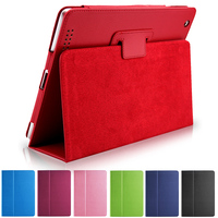 Business Flip Litchi Leather Case For New Ipad3 Ipad 4 Smart Stand Holder For Apple Ipad2