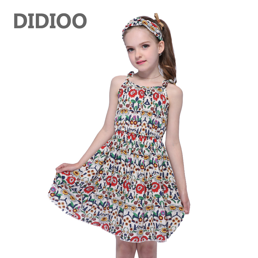 Children Bohemian Dresses For Girls Suspenders Floral Beach Dress Cotton Casual Girls Dresses  Summer Holiday Clothes 2 4 6 8 12 beach bag for children