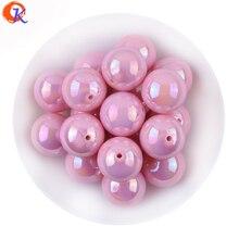 Mode sieraden 20MM 100 stks/partij AB Glanzende Roze Effen Kleur Acryl Chunky Bubblegum Bead Voor DIY Handgemaakte Accessoires CDWB 701037