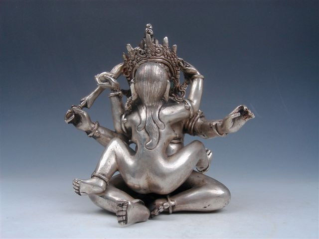 Chinese Vintage Tibetan Silver Copper Crafted Mandkesvara Yab-Yum Buddha