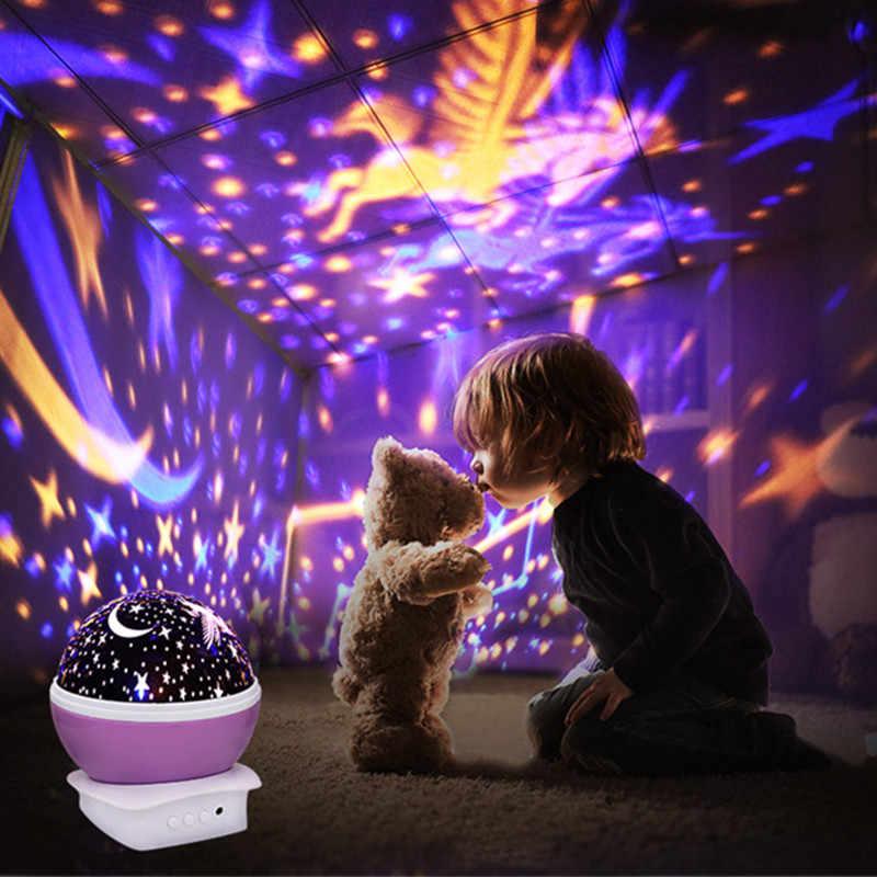 Вращающаяся Луна проектор Звездное небо лампа Луна Звезда свет единорога светится в темноте для детей ребенок спящий подарок на день рождения комната E