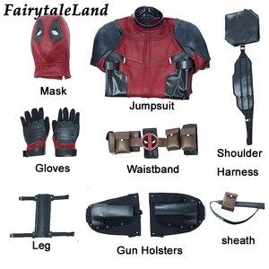 Image 3 - Deadpool 2 Wade Wilson Cosplay kıyafet cadılar bayramı kostümleri DP2 bir kez bir Deadpool kırmızı Suit tulum maskesi ayakkabı kemer özel yapılan
