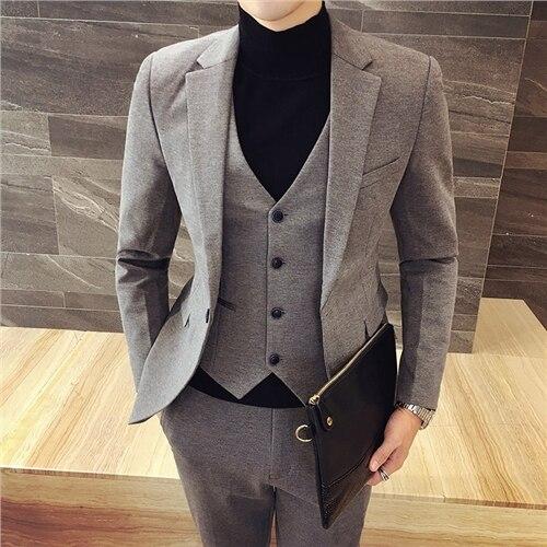 7a8cdb26e373 2017 Summer new Korean version of Slim stretch men's fashion temperament  suit three suit bridegroom full color suit set