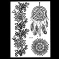 1pc Hot Fashion Large Indian Mehndi Henna Women Body Art Glitter Tattoo Kit BJ013A Feather Black Style Temporary Tattoo Stencils