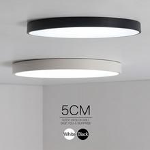 Minimalist Black/White art modern led ceiling lights for bedroom kids room Round square led home indoor ceiling lamp Fixture