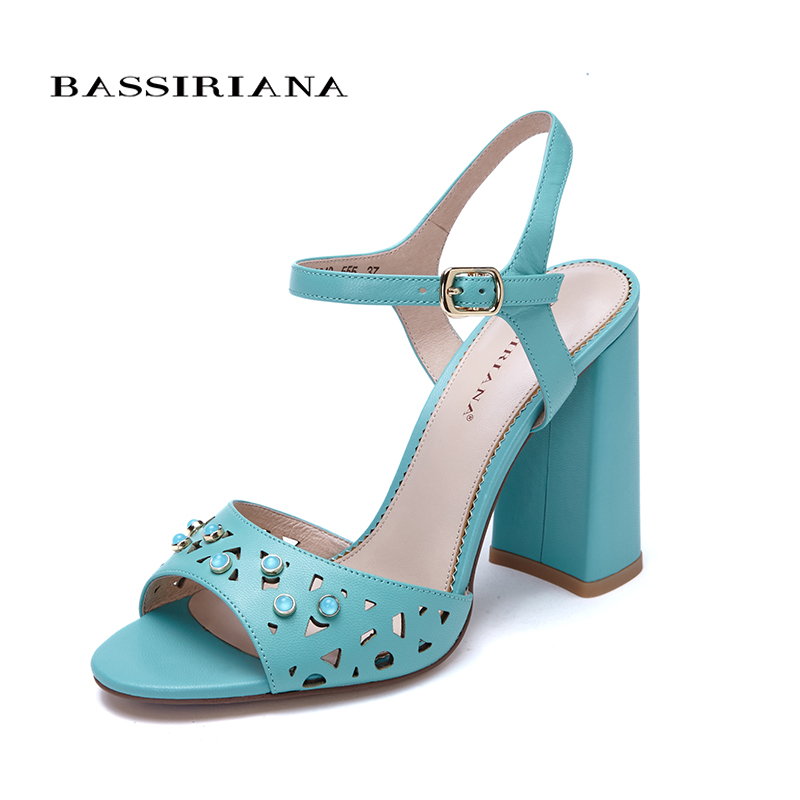 Genuine leather SANDALS high heels shoes for woman Ankle Strap Square heel Party model 35 40