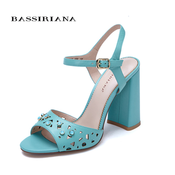 Genuine leather SANDALS high heels shoes for woman Ankle Strap Square heel Party model 35-40 size Free shipping BASSIRIANA sandal