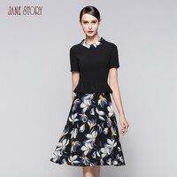 Джейн История женщин закругленный отложной воротник лоскутное искусственного два в одном платье с коротким рукавом Vestido Цветочные Черное п