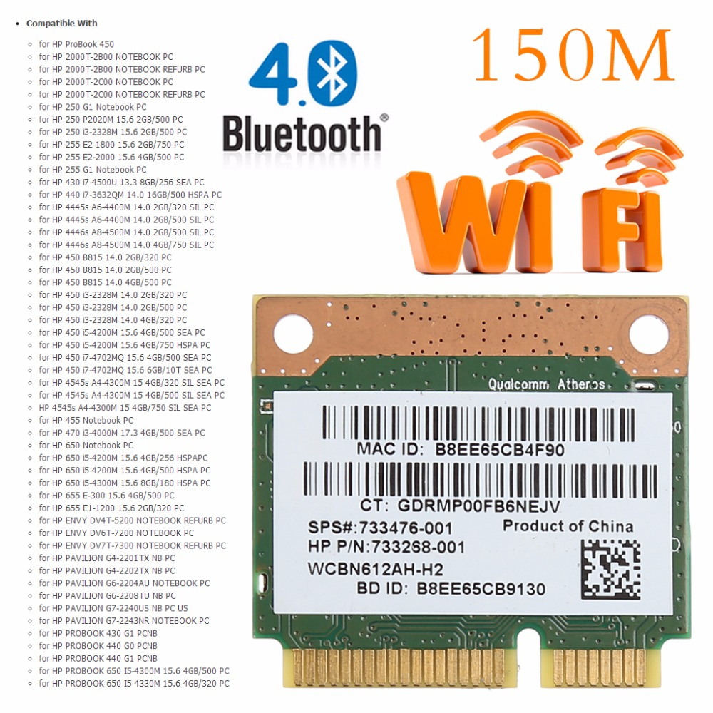 Tablet-802.11b/g/n WiFi Bluetooth 4.0 Wireless Half Mini PCI-E Card For HP Atheros QCWB335 AR9565 SPS 690019-001 733476-001